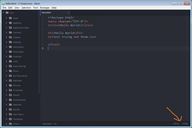 Editerar filen hello.html på Windows.