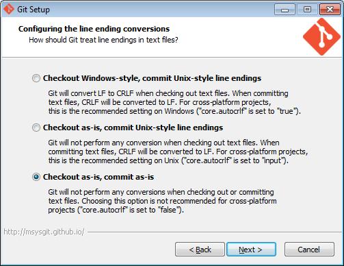 Se till att sista valet är gjort, Git skall inte ändra dina filer per automatik.
