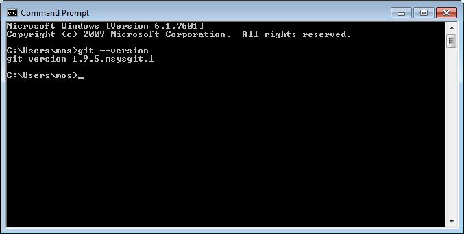 Kommandot Git finns nu i pathen och kan köras från `cmd.exe`.