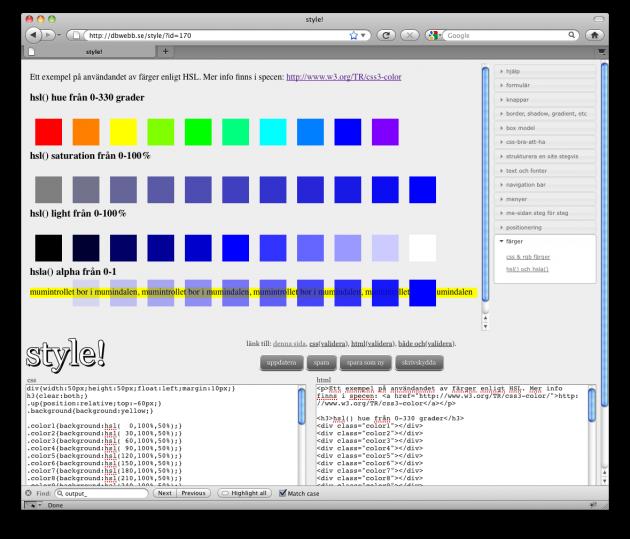 Färgkombinationer med HSL och HSLA.