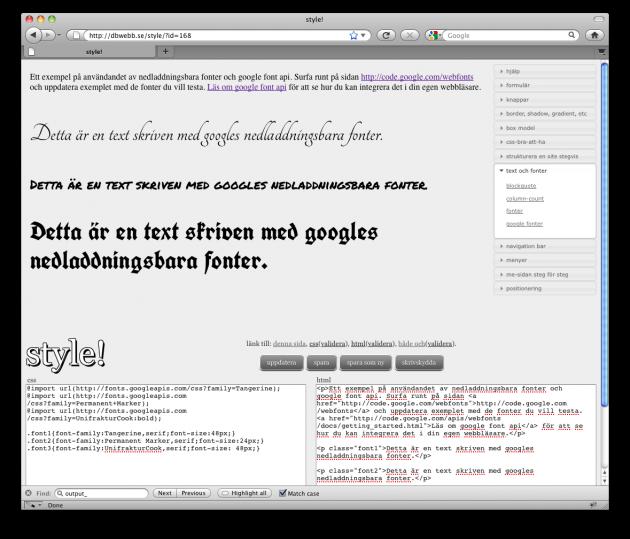 Exempel som använder Googles tjänst för nedladdningsbara fonter.