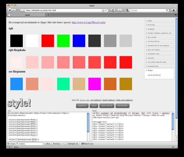 Ett exempel med varianter på färger.