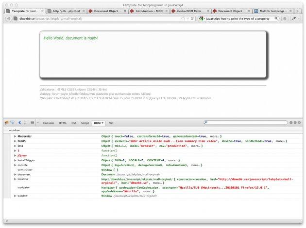 En översikt av JavaScript objekt via Firebug menyval