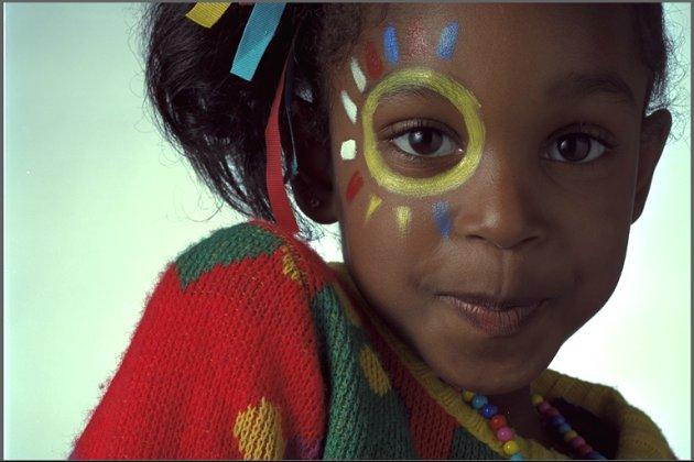 En flicka i en bildserie från Kodak.