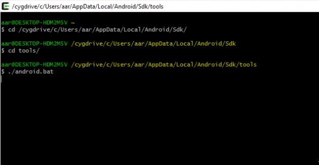 Installationen av Android SDK på Windows 10.