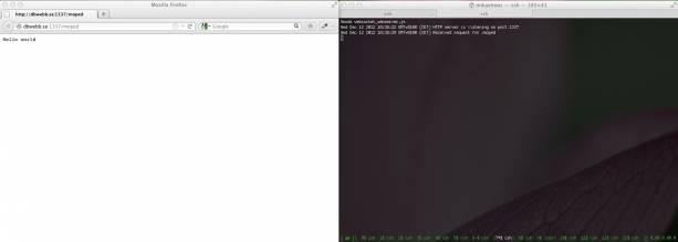En http-server i node.js som svarar på http-förfrågningar på port 1337.