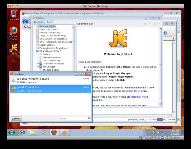 Editorn jEdit är installerad och uppstartad.