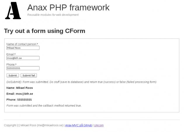 Forumläret är self-submitting så det postar sig till samma route som visar det.