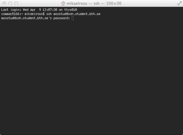 Ett terminalfönster på din Mac, på väg att öppna upp en ssh-koppling mot studentservern.