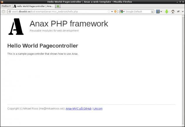 En hello world sidkontroller i Anax-MVC.