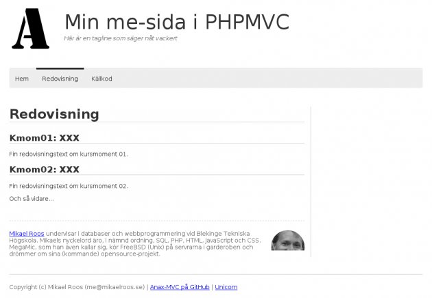 Sidan redovisning skrivs i Markdown som formatteras om till HTML.