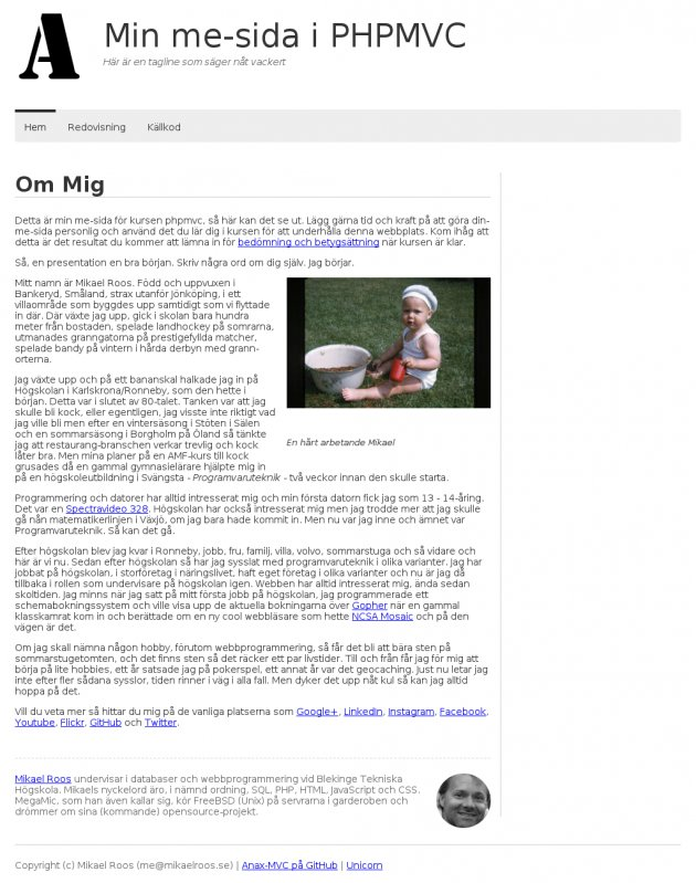 En me-sida byggd med Anax-MVC.