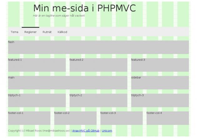 Placera ut webbsidans innehåll som regioner i ett rutnät (grid).