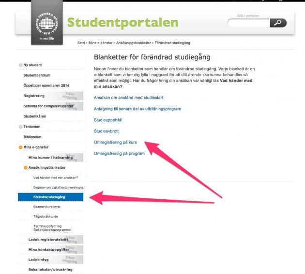 Omregistrera dig via studentportalen