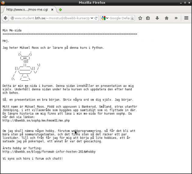 Mikaels me-sida i Python som cgi-skript.