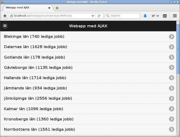 Sida som visar antalet lediga jobb samt platsannonser.