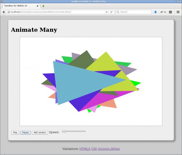 Animera många trianglar i en uppdaterad sandbox för WebGL.