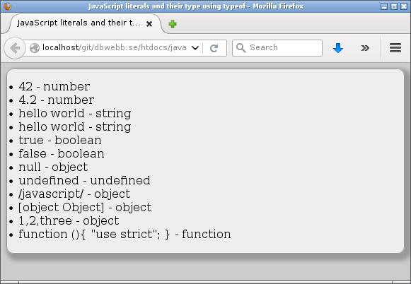 Literaler och dess typ som det upplevs av JavaScripts `typeof` operator.