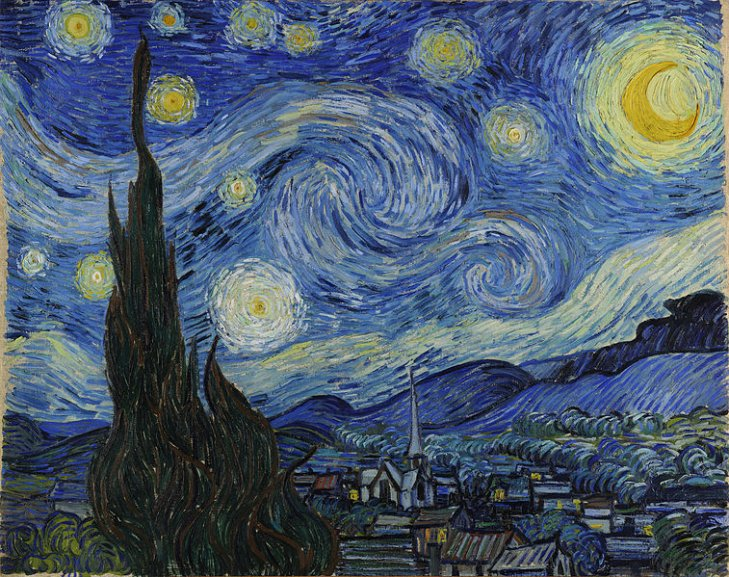 Tavla Starry Night av Van Gogh, används ofta i undervisning av Art & Design Principles.