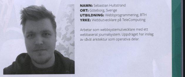 Sebastian jobbar som webbsystemutvecklare med ett webbaserat journalsystem, både med arkitektur och operativa inslag.