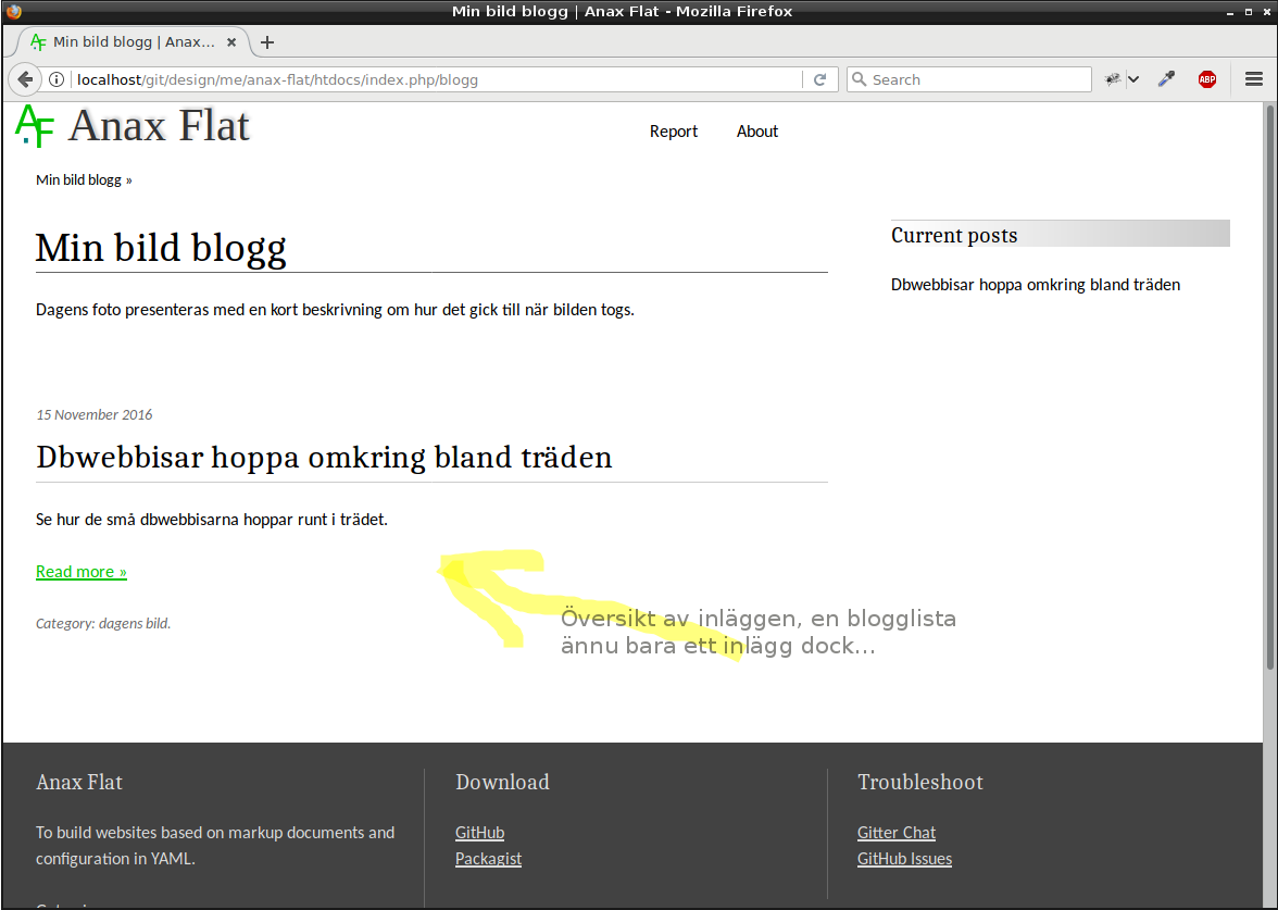 Första inlägget visas i blogglistan.