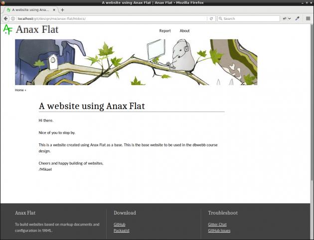 En me-sida med PHP-ramverket Anax Flat.