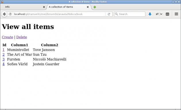 En lista av böcker i ett exempel med CRUD.