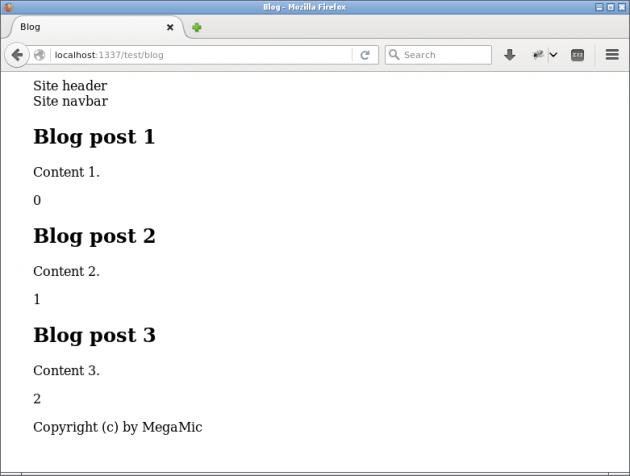 En blogg-sida som bygger på en loop-konstruktion.
