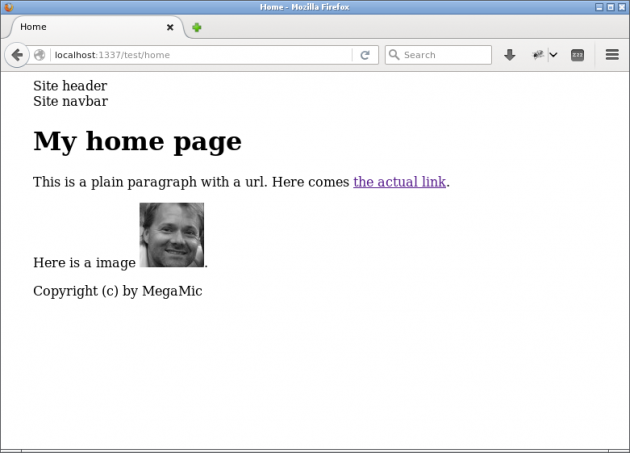En sida med en vy-fil som extendar en annan.