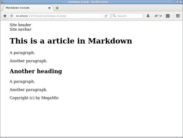 En sida med Markdown där innehållet inkluderats från en extern fil.