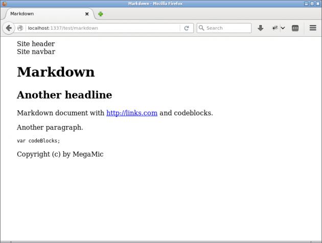 En sida med Markdown direkt från vy-filen via filter.