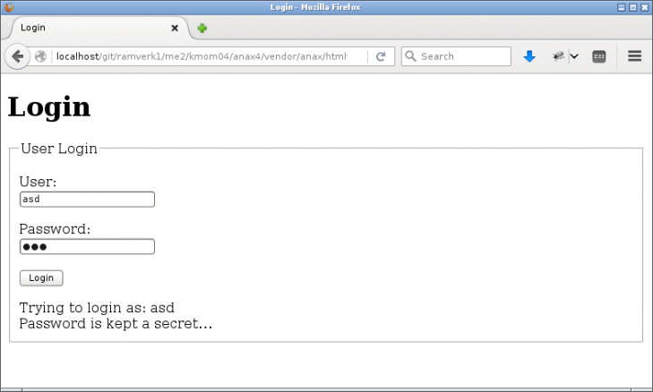 Ett login formulär via modulen `anax/htmlform`.