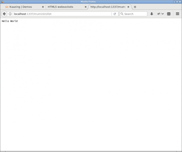 Den inbyggda webbservern svarar alltid Hello World.