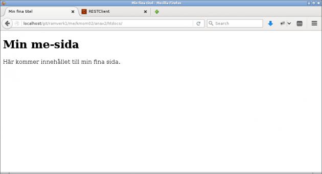 Nu fungerar grundstrukturen i den scaffoldade webbplatsen.