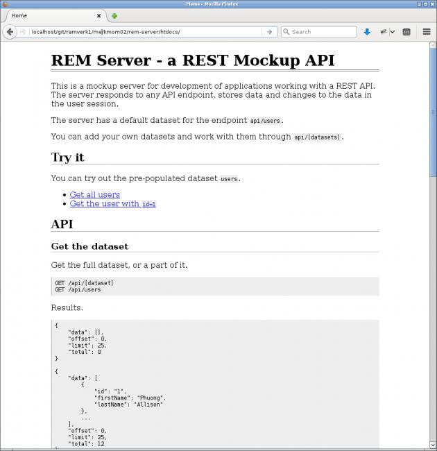 Manualen för REM servern som också visar att REM servern är installerad och fungerar.