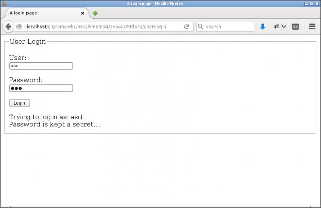 Så här ser login-sidan ut när den fungerar.