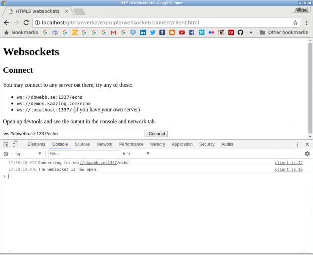 Chrome visar detaljer i Console när uppkopplingen sker för websockets.