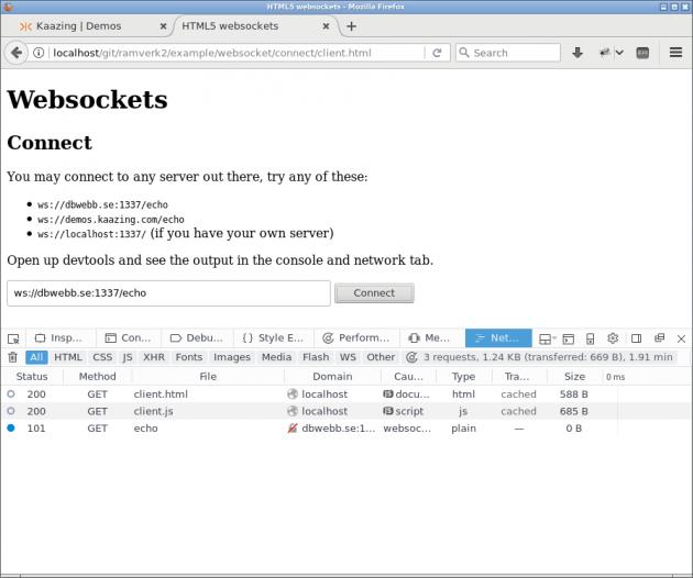 Firefox i fliken Networks vid uppkoppling för websockets.