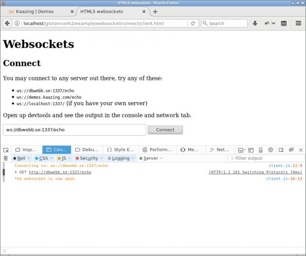 Firefox visar detaljer i Console när uppkopplingen sker för websockets.