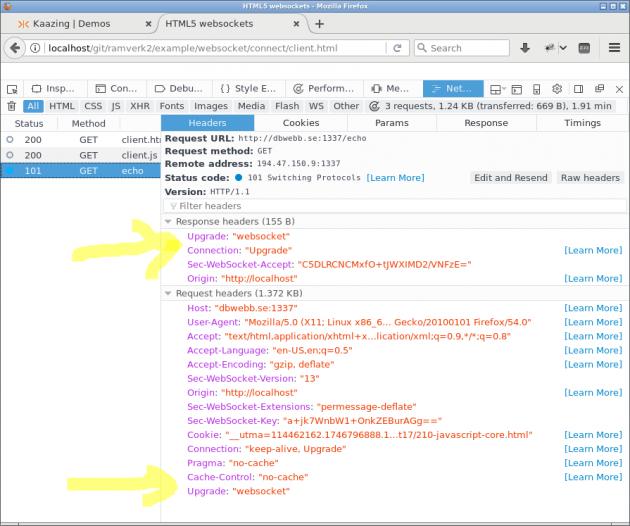 Firefox visar hur request och response header innehåller detaljer om uppgradering till protokoll websocket.