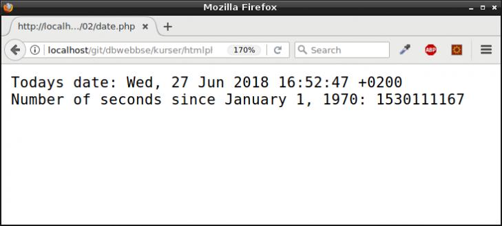 Dagens datum och antalet sekunder sedan starten av 1970.