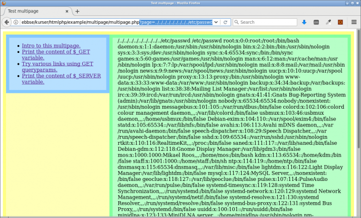 Webbplatsen är öppen för file inclusion och användaren kan visa innehållet i passwd-filen.