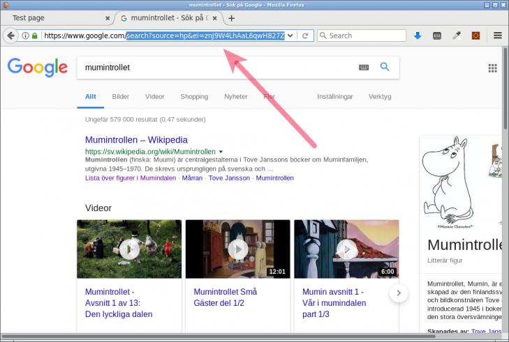 Sökmotorn Googles, nu med querysträngen som innehåller detaljer om min sökning.