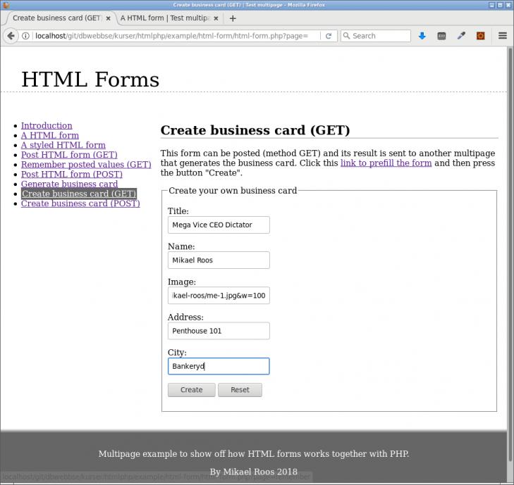 Ett enkelt html-formulär.