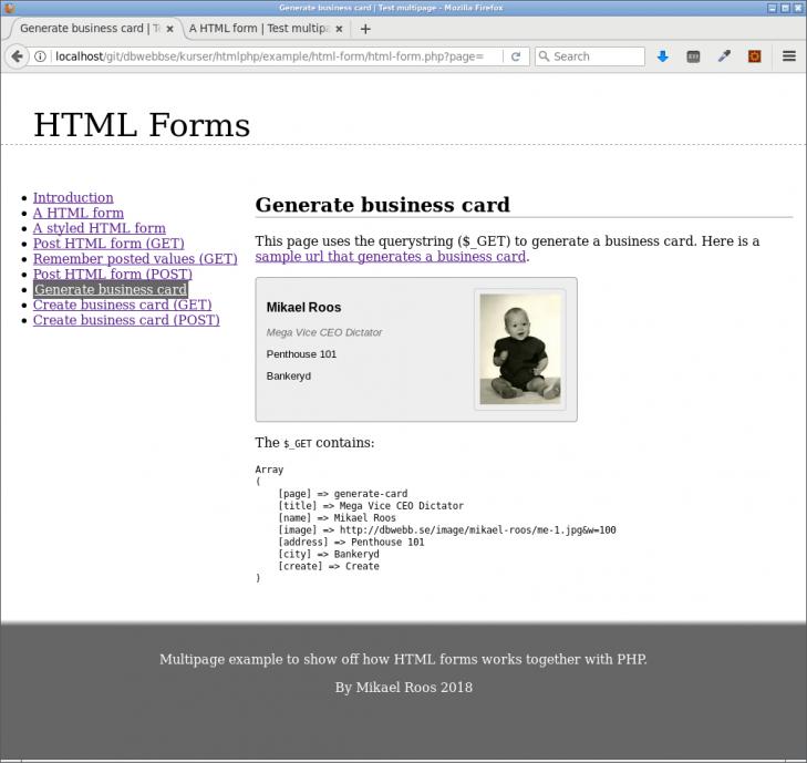 Värden i det postade formuläret används till att rendera ett visitkort.