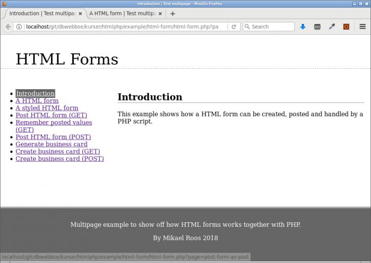 Ett exempelprogram för html-formulär.