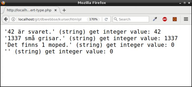 Explicit konvertering av variabels värde till en annan typ.