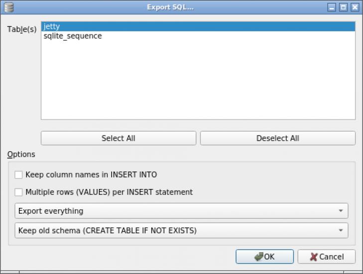 Exportera databasen som SQL-kommandon.