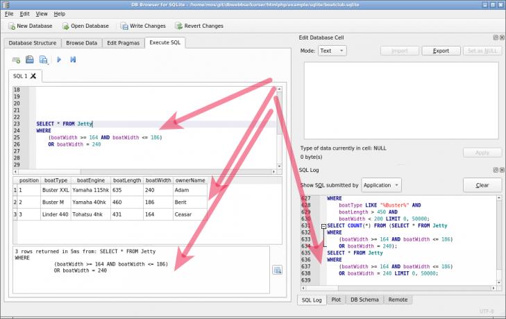 Med SQL kan man ställa frågor mot databasen och visa urval av dess innehåll.