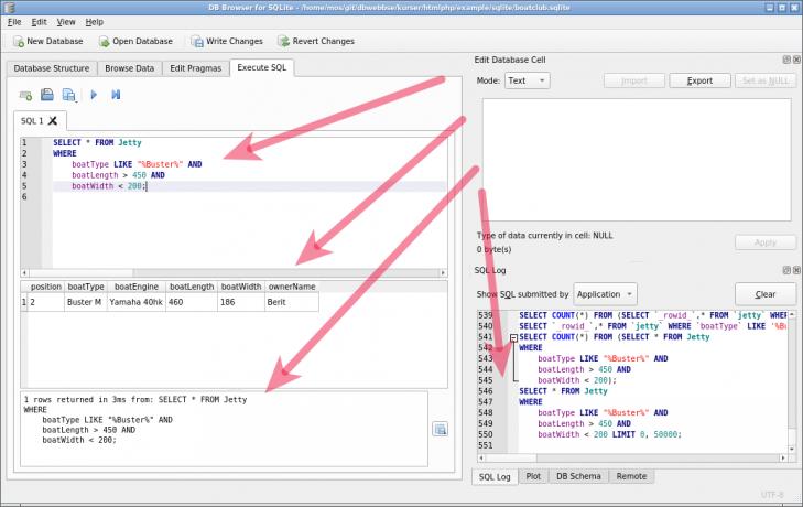 Samma resultat visas, Buster M, men nu med en SQL-konstruktion.